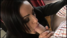 Brunette secretary goes down on her boss and eats his meat skewer