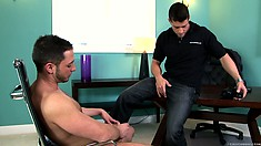 The photographer gets horny watching this guy jerk off and he starts doing the same
