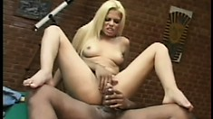 Jumping on top of her man, the wild babe rides his hard cock until she's pleased