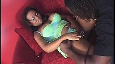 Naughty yellow bone ho gets down to have her cooch eaten out