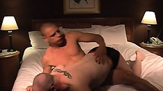Chubby man gets spanked and teased by a sadistic jock in bed