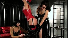 Lesbian slave in bondage gear gets teased by her cruel mistresses