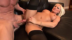 Busty blonde Diana Doll blows his long dick and gets pounded hard all over the couch