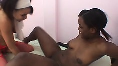 A pair of dark skinned girls with big boobs and hot asses fulfill their lesbian urges