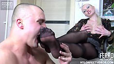 Pale white blonde in black stockings Hilda gets her feet licked and her twat fucked