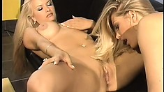 Stacked blonde lesbians provide to each other the intense pleasure they desire