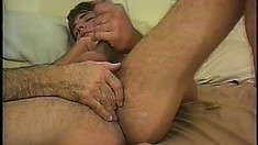 Hairy chap Johnny Thrust caresses his own big dong and gets his asshole fingered