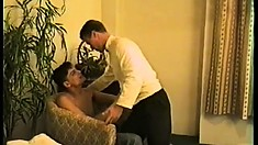 Three gay twinks get together in a hotel room to indulge in hardcore sex