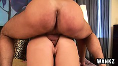 Naughty redhead cougar with big tits Morgianna has a young stud banging her pussy