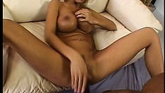 Wild blonde goes down on a mighty love muscle and sucks it hard
