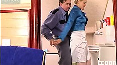 Luscious blonde in white stockings Susanna gets nailed hard by Morris