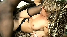 Horny MILF in stockings gets pounded hard by a big black dong