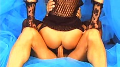 Petite girl in black stockings gets her tight butt hole deeply drilled