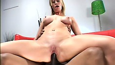 His giant black snake attacks the tight bald twat of this blonde slut