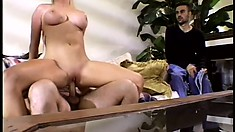 Busty beauty Mrs C Frady is dirty enough to please two long cocks