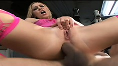 A babe in pink fishnets screams through a rough anal reaming