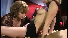 Katie Morgan and Rebecca Bardoux have hot lesbian sex and share a cock