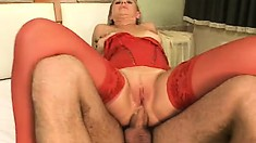 Sultry blonde in sexy red lingerie Iris Fisher takes a dick up her ass