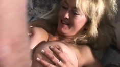 Huge breasted blonde milf Rheina Shine getting fucked by a young stud