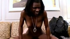 Black cutie with a perky ass blows and fucks a white dick on the couch