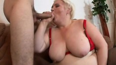 Desperate old slut gets her loose twat smashed by a young lad