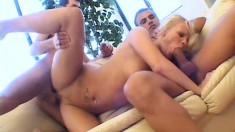 Ravishing blonde mom invites two hung guys to satisfy her sexual needs
