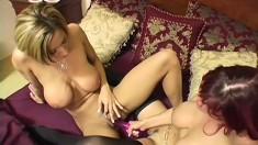 Big titted lesbians Lexxi Tyler and Rebecca Love help each other cum