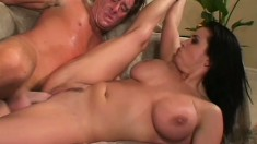 Stacked brunette seduces Kyle Stone and has him banging her fiery twat